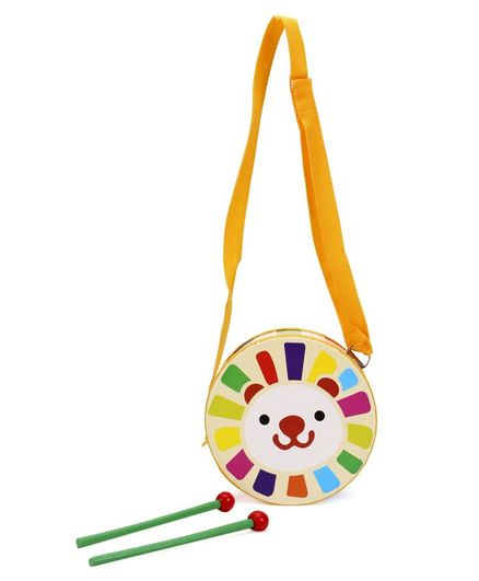 Alpaks Toy Drum With Wooden Sticks (Print & colour May Vary)