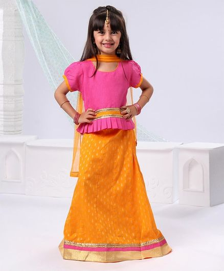 Ridokidz Half Sleeves Peplum Style Choli With Dupatta & Printed Lehenga Set - Pink