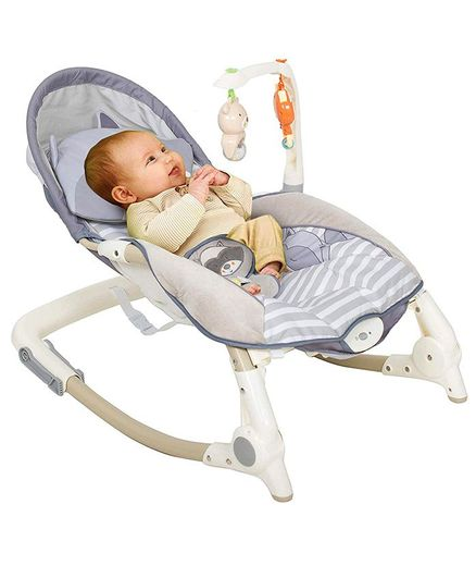 Baybee Foxy Toddler Portable Recliner Rocker Chair with Activity Toys - Multicolour