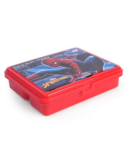 Marvel Spiderman Insulated Steel Lunch Box With Fork Spoon - Red