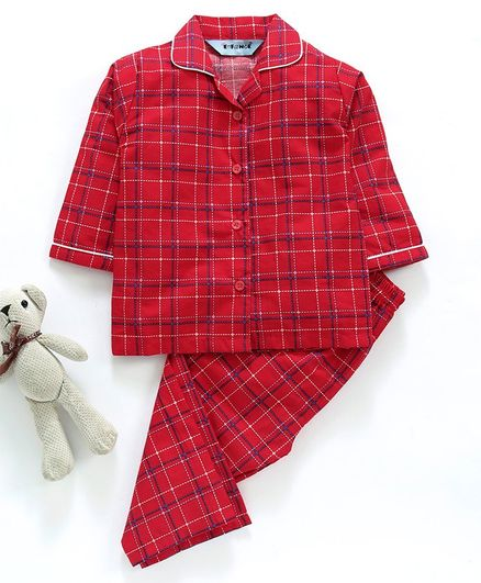 Enfance Core Checkered Full Sleeves Night Suit - Red