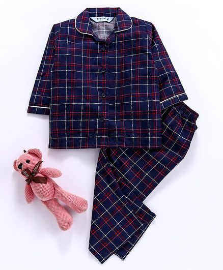 Enfance Core Checkered Full Sleeves Night Suit - Navy Blue