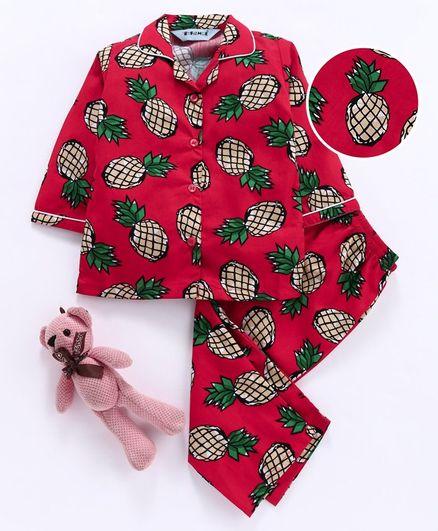 Enfance Core Pineapple Print Full Sleeves Night Suit - Red