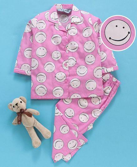 Enfance Core Smiley Print Full Sleeves Night Suit - Pink
