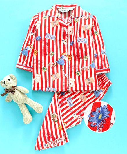 Enfance Core Striped & Flower Print Full Sleeves Night Suit - Red