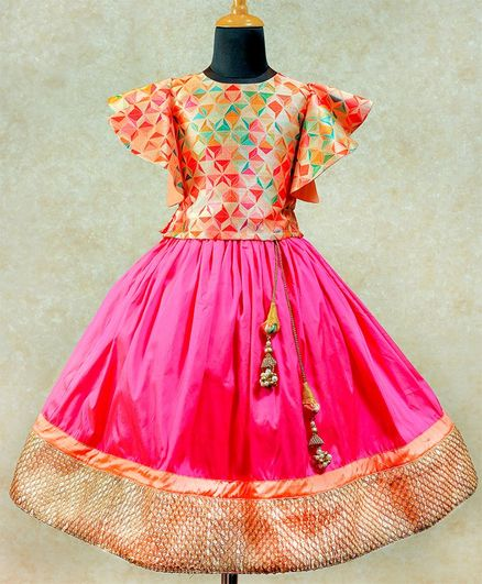 Li&Li BOUTIQUE Diamond Printed Half Butterfly Sleeves Choli With Lace Detailed Umbrella Cut Lehenga - Pink