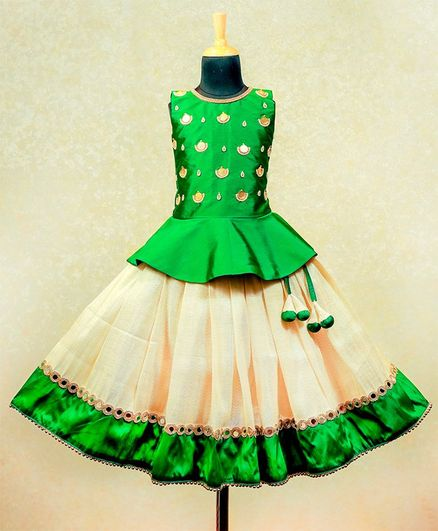 Li&Li BOUTIQUE Pearl Embellished Sleeveless Peplum Choli With Lace Detailed Umbrella Cut Lehenga - Green & Golden