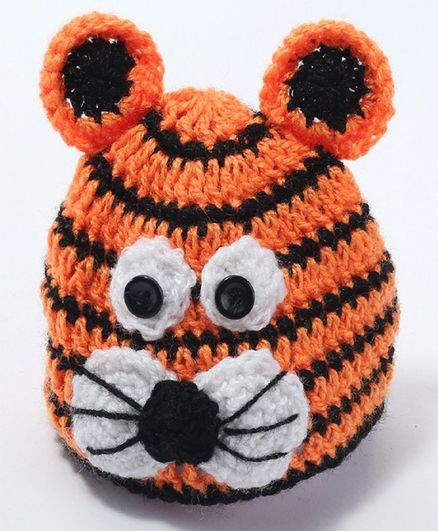 Knits & Knots Tiger Face Decorated Crochet Cap - Orange