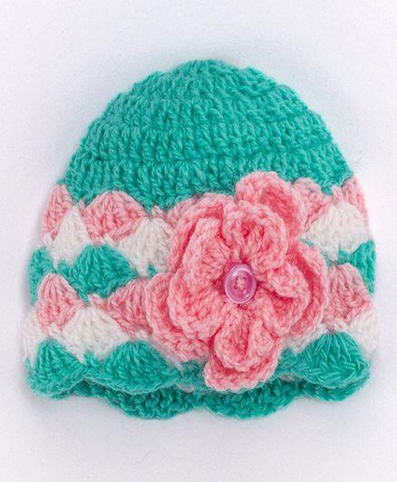 Knits & Knots Flower Decorated Crochet Cap - Green
