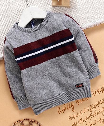 Play by Little Kangaroos Full Sleeves Pullover Sweater - Grey