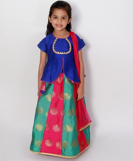 KID1 Half Sleeves Top With Gold Print Flower Pattern Lehenga & Dupatta - Blue