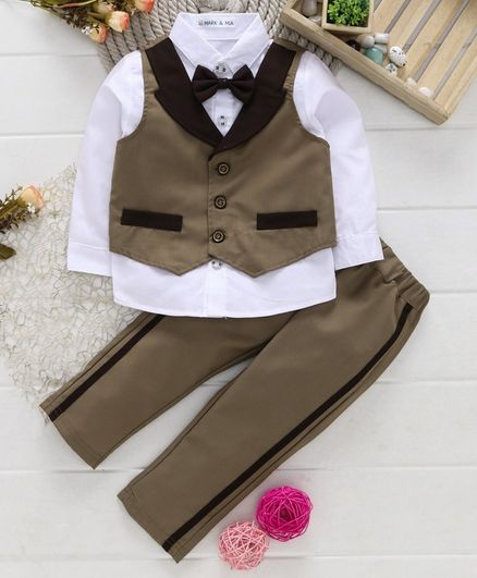 Mark & Mia Full Sleeves Shirt With Trouser Waistcoat & Bow - Brown