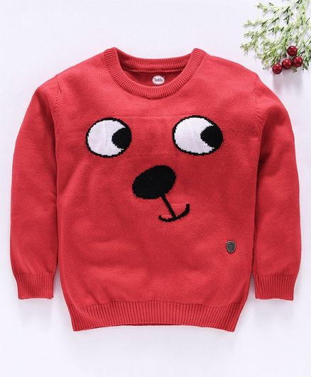Teddy Full Sleeves Sweater - Red