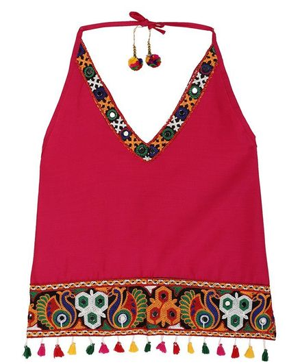 Bownbee Peacock Embroidered Tassel Detailed Sleeveless Top - Pink