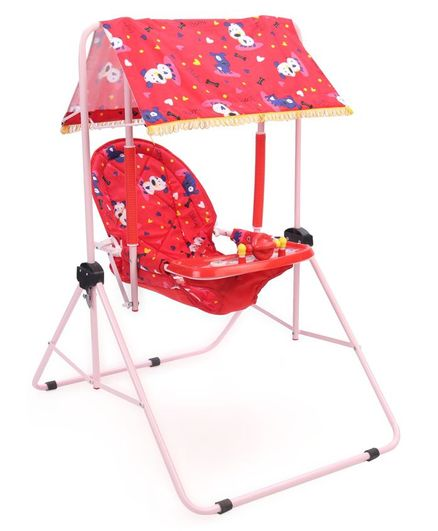 New Natraj Multipurpose Room Swing Dog Baby Print - Red