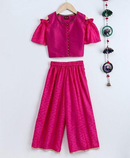 Twisha Cold Shoulder Half Sleeves Top With Elasticated Zig Zag Printed Palazzo - Pink