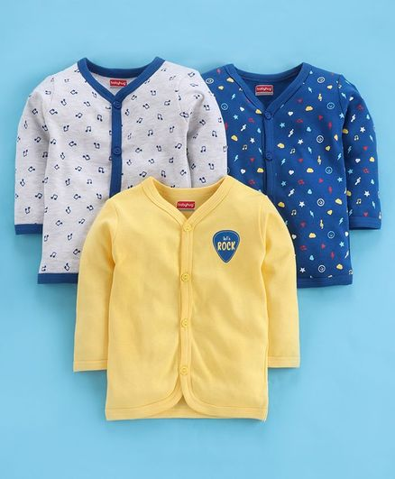 Babyhug Full Sleeves 100 % Cotton Vests Multi Print Pack of 3 - Blue Yellow