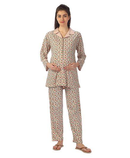 Kriti Full Sleeves Maternity Night Wear Floral Print - Pale Pink