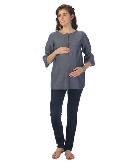 Kriti Three Fourth Sleeves Maternity Nursing Top - Blue