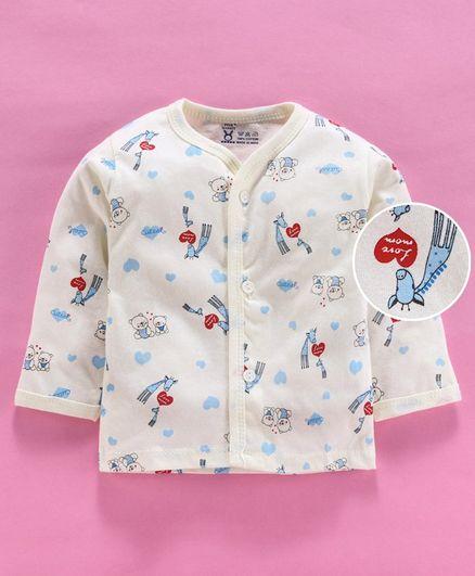 Pink Rabbit Full Sleeves Vest Animal Print - Cream
