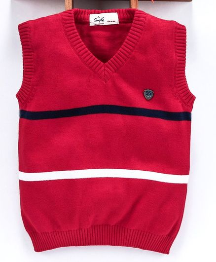Simply Sleeveless Striped Sweater - Red