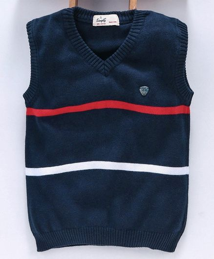 Simply Sleeveless Striped Sweater - Navy