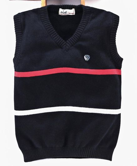 Simply Sleeveless Striped Sweater - Black