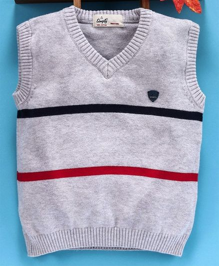 Simply Sleeveless Striped Sweater - Grey