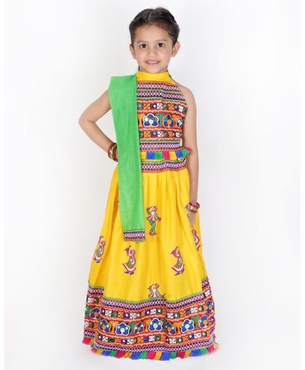 KID1 Motif Embroidery Detailing Sleeveless Choli With Girl Playing Dandiya Embroidered Lehenga With Dupatta - Yellow