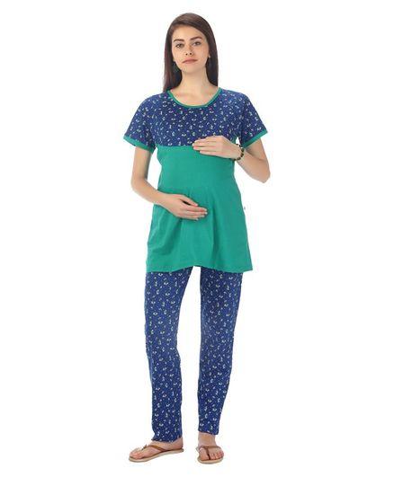 Kriti Half Sleeves Nursing Night Wear Top & Pajama Floral Print - Blue Green