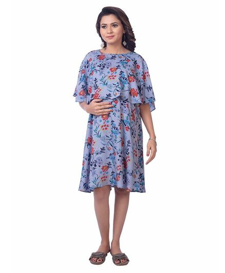 Kriti Half Sleeves Maternity Nursing Dress Floral Print - Blue