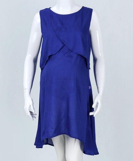 Kriti Sleeveless Solid Maternity Dress - Dark Blue