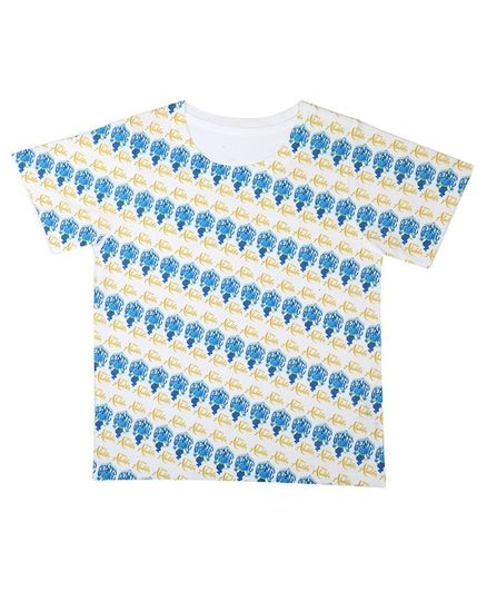 Disney By Crossroads Half Sleeves Aladdin All Over Print Tee - White