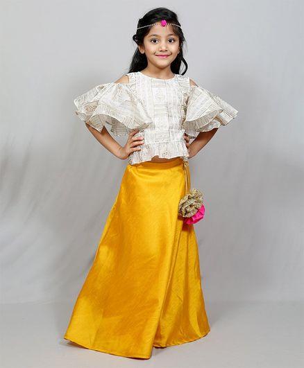 Varsha Showering Trends Gold Print Half Ruffle Sleeves Choli With Lehenga - Yellow & Grey