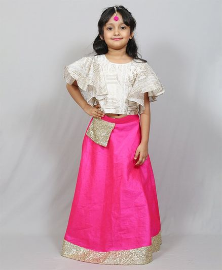 Varsha Showering Trends Gold Floral Print Half Ruffle Sleeves Choli With Sequin Lace Detailed Lehenga - Pink & Grey