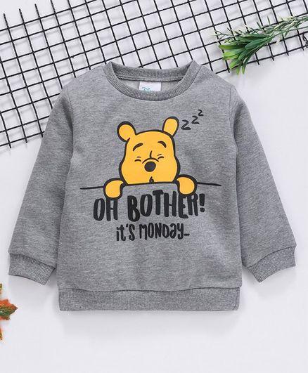 Fox Baby Full Sleeves Winter Wear Tee Pooh Print - Grey