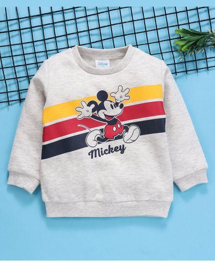 Fox Baby Full Sleeves Winter Wear Tee Mickey Mouse Print - Grey Melange