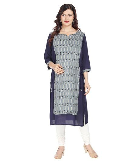 Morph Printed Three Fourth Sleeves Maternity Feeding Kurta - Grey