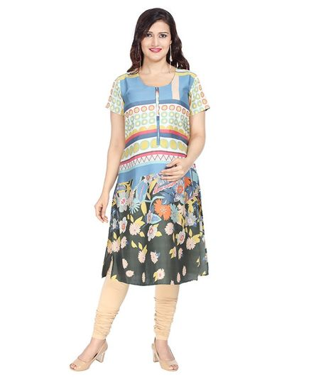 Morph Flower Print Half Sleeves Maternity Nursing Kurta - Multi Color