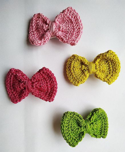 Milonee Handmade Bow Crochet 4 Hair Clips - Yellow Pink & Green
