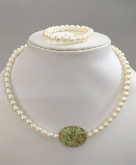 Tiny Closet Tie Dye Stone Pearl Necklace & Bracelet Set - Green & Cream