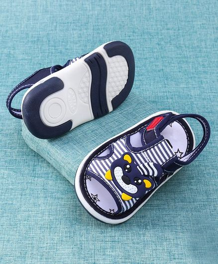 Cute Walk by Babyhug Sandals With Bear Patch - Navy Blue