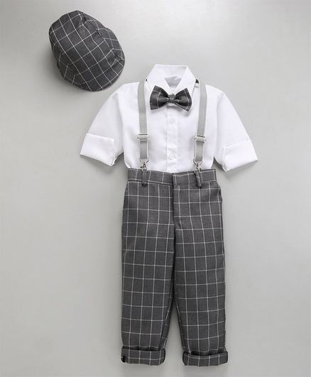 Jeet Ethnics Full Sleeves Shirt With Bow Checked Suspender Pants & Cap - White & Grey