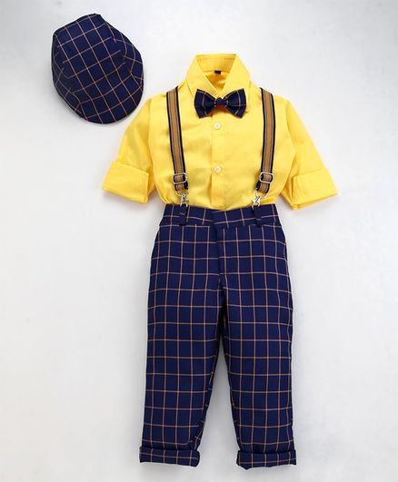 Jeet Ethnics Full Sleeves Shirt With Bow & Checked Suspender Pants With Cap - Navy Blue