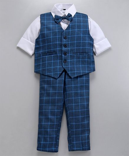 Jeet Ethnics Full Sleeves Three Piece Checked Party Suit With Bow Tie - Blue