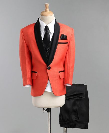 Jeet Ethnics Full Sleeves Coat With Shirt Waistcoat Tie And Pant Set - Orange