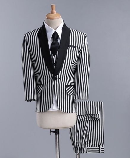 Jeet Ethnics Full Sleeves Striped Four Piece Party Suit With Tie - White