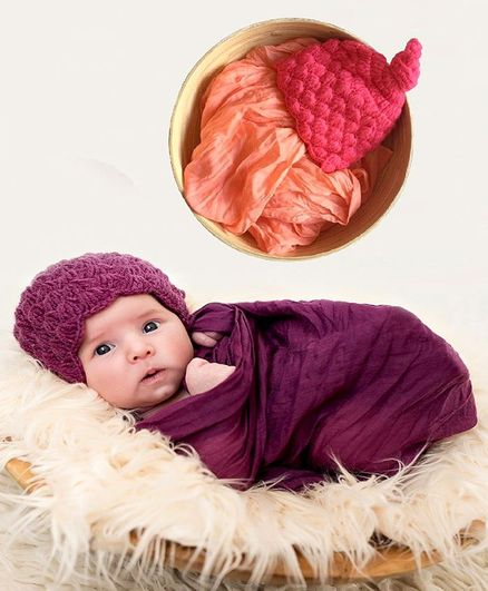 Babymoon Non Stretchable Swaddle Baby Wrap & Cap New Born Photo Graphy Shoot Prop - Peach