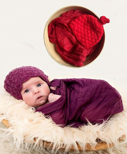 Babymoon Non Stretchable Swaddle Baby Wrap & Cap New Born Photo Graphy Shoot Prop - Red