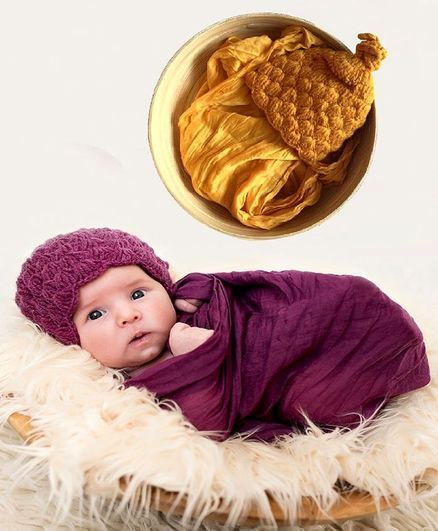 Babymoon Non Stretchable Swaddle Baby Wrap & Cap New Born Photo Graphy Shoot Prop - Yellow